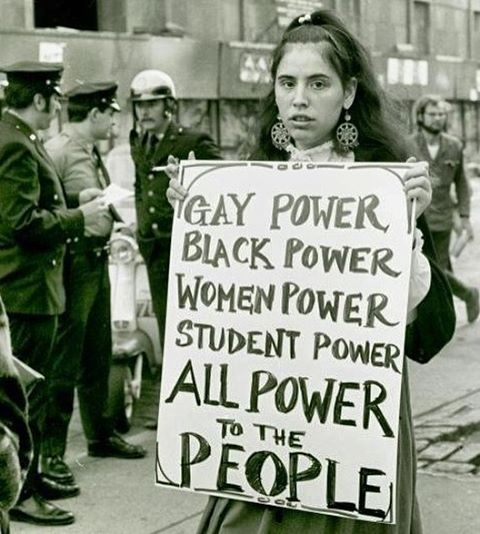 "lgbt-history-archive: """"GAY POWER - BLACK POWER - WOMEN POWER - STUDENT POWER - ALL POWER to the PEOPLE,"" Gay Liberation Front member, New York University, New York City, September 1970. Photo by Diana Davies. @nyplpicturecollection. #lgbthistory..."