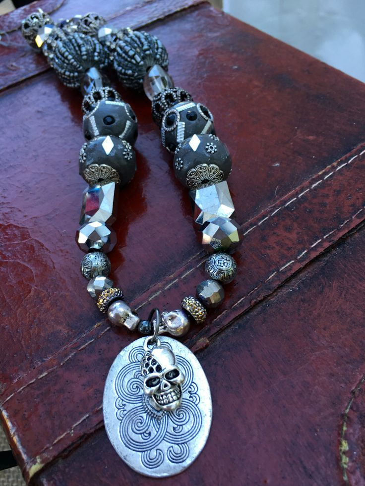 Silver beaded pirate necklace. Pirate costume. Pirate jewelry. Skull necklace. Skull jewelry by FairytaleBeading on Etsy