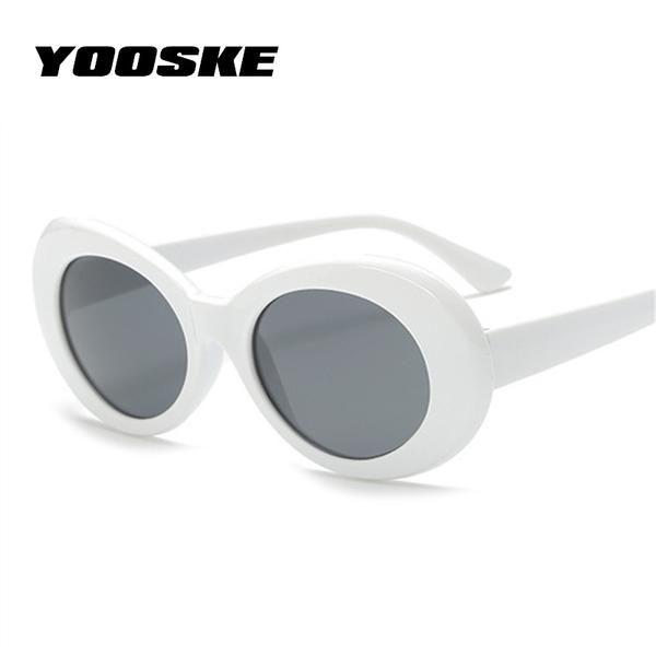 265ccf6591  FASHION  NEW YOOSKE Women Clout Goggles Glasses Men NIRVANA Kurt Cobain  Sunglasses Female Male Oval Sun Glasses Black White Eyewear UV400