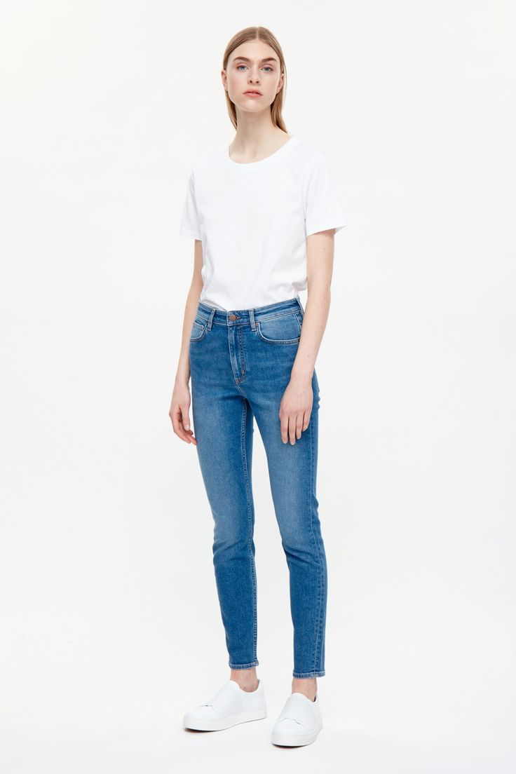 COS image 1 of Skinny-fit cropped jeans in Blue