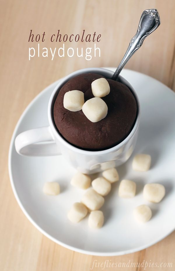 Let the kids help you cook a batch of Hot Chocolate Playdough for winter play!