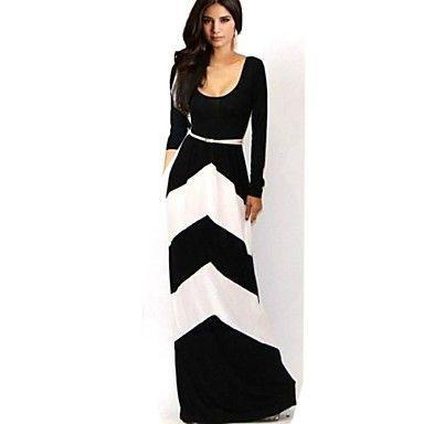 colore sexy contrasto strisce geometriche delle donne lungo abito manica lunga – EUR € 17.53