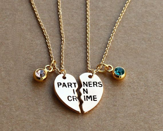 PARTNERS IN CRIME necklace birthstone friendship by birdshome                                                                                                                                                                                 More
