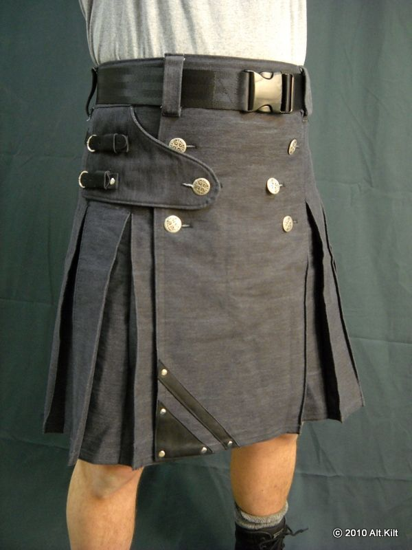 Denim and leather kilt - front view