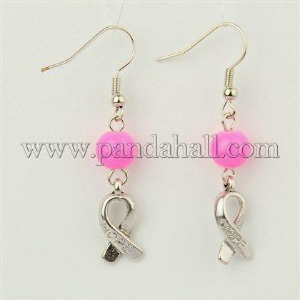 Spero orecchini cancro al seno, rosa charms nastro consapevolezza e ottone orecchino gancio, hotpink, circa 47 mm di lunghezza all'ingrosso - It.Pandahall.com