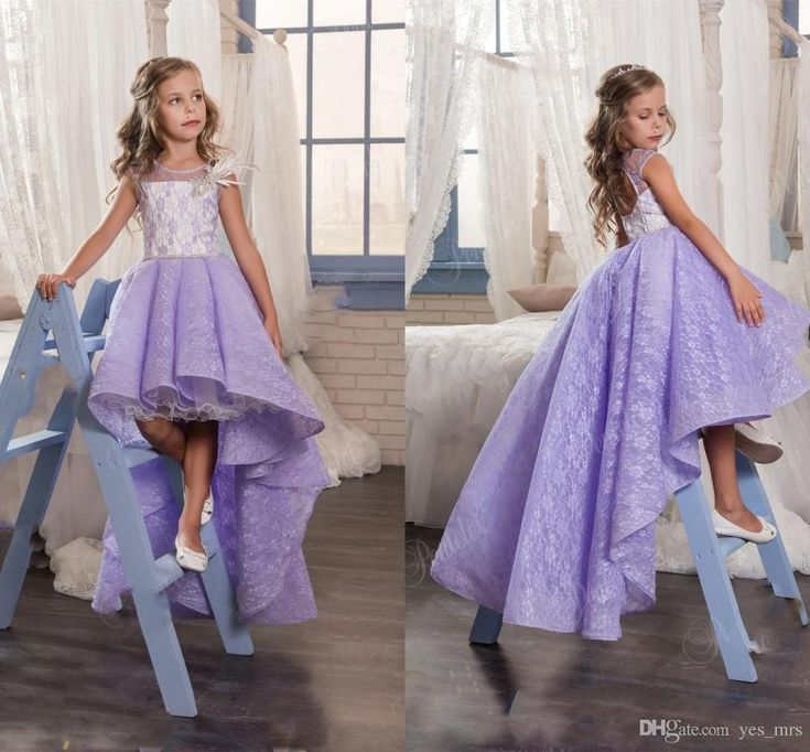 2017 New Flower Girls Dresses For Weddings Jewel Neck Lilac Lace Appliques High Low Party Birthday Children Communion Girl Pageant Gowns Wedding Kids Wear 2017 Flower Girls Dresses Flowers Girls Dresses for Weddings Online with $101.72/Piece on Yes_mrs's Store | DHgate.com
