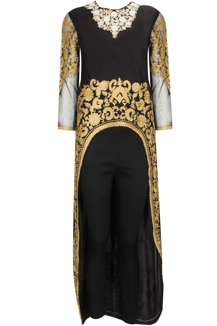 Black dabka embroidered cape with pants by Sonali Gupta   Shop now:  http://www.perniaspopupshop.com/designers/sonali-gupta  #shopnow #perniaspopupshop #sonaligupta