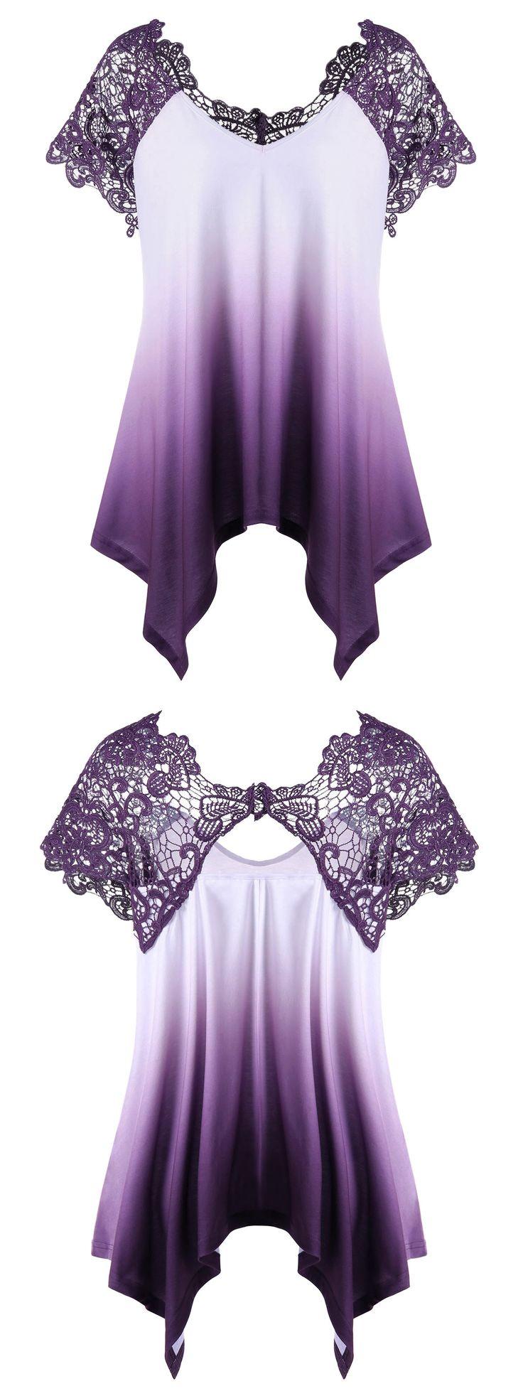 $18.43 Plus Size Lace Trim Ombre Asymmetric T-Shirt - Purple