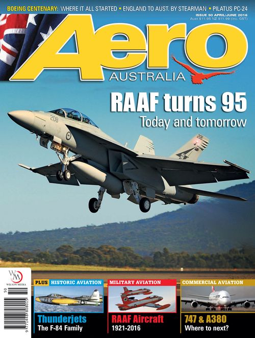 Aero Australia issue 50 cover. Photograph by Murray Permain of RAAF Boeing F/A-18F Super Hornet.