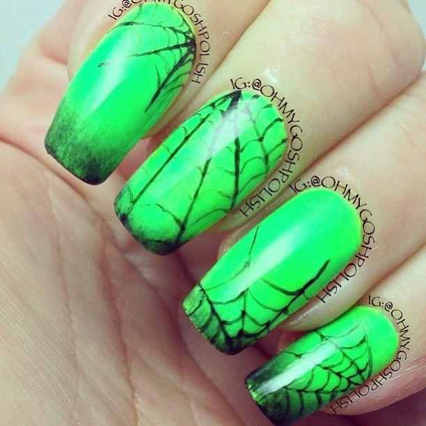 neon halloween nails