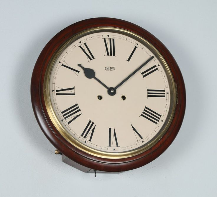 Antique 15″ Mahogany Smiths Enfield Railway Station / School Wall Clock (Chiming)