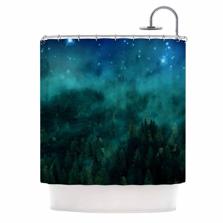 "888 Design ""Forest Night"" Green Digital Shower Curtain"