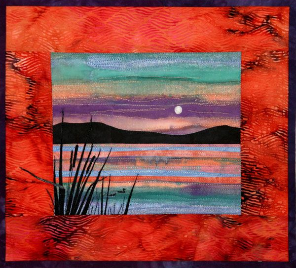 """Lakes, approx. 10"""" x 8"""". in: Accidental Landscapes by Karen Eckmeier at The Quilted Lizard"""