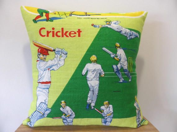 Cricket Cushion Cover Australian Sport Gift For Him by Lapideum