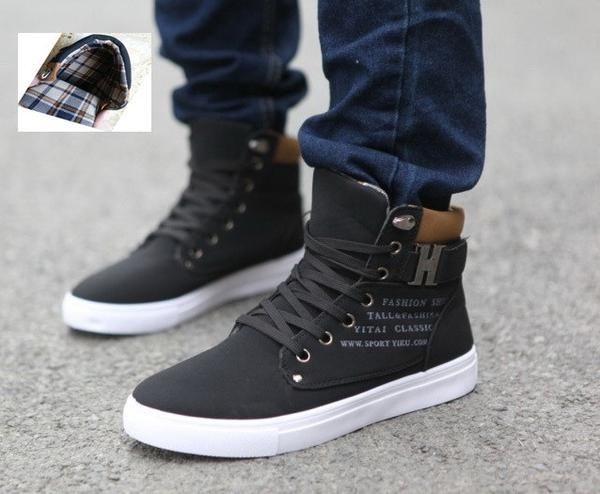 Sapatos Tenis Masculino Male Fashion Spring Autumn Leather Shoe For Men Casual High Top Shoes Canvas Sneakers - Mopixie Toys  - 6