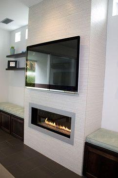 Linear Porcealin Mosaic Wall Tile Leucadia Ca Residence - Contemporary - Media Room - San Diego - Design For Less