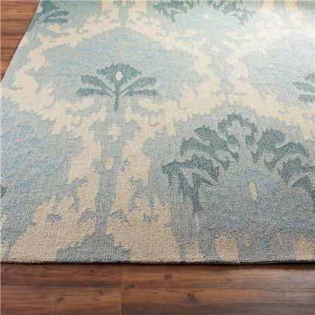 """Overscale Damask Indoor-Outdoor Rug 2'6"""" x 8 runner Sea Spa and Yellow $175"""