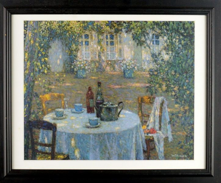 HENRI Le SIDANER (1862-1939)  Vintage Lithograph Title: Tea on the Terrace Size: 35cm x 42cm Frame Size: 47cm x 57cm Artwork is Housed in a Glazed Timber Frame