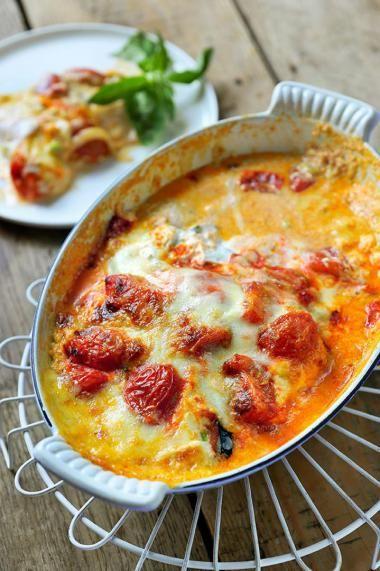 Lasagne van aubergines met kerstomaten en ricotta  http://njam.tv/recepten/lasagne-van-aubergines-met-kerstomaten-en-ricotta