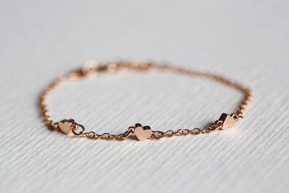 Rose Gold Heart Bracelet, Tiny Heart Bracelet. Three hearts Bracelet, Solid rose Gold Bracelet