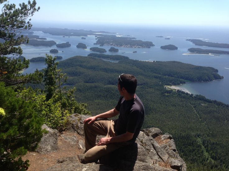 The view of Tofino from across the inlet on top of Lone Cone mountain