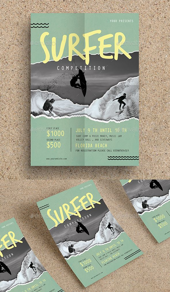 Surf Competition Flyer by Guuver SpesificationPSd file A4 (8.27x11.69 inch bleed) Change image via smart object free font used Print Ready CMYK 300 DPI Well orga