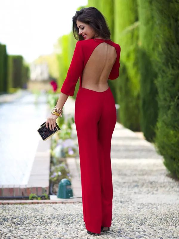 Long sleeves, open back red dress! Gorgeous