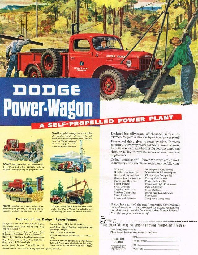 1947 Dodge Power Wagon Truck Ad Photo Picture