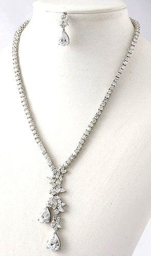 """Beatiful Bridal Jewelry with Prong Set Cubic Zirconia Stones - Brilliant Floral Droplet Occasion Jewelry StarShine Jewelry. $118.00. Approximate length: 27"""". Each CZ stone is individually prong set; not glued.. Lead and Nickel Free. Cubic Zirconias are the closest imitation of diamon in the world. They have perfect clarity and fire.. Comes with matching earrings with clear disc backing for maximum support"""