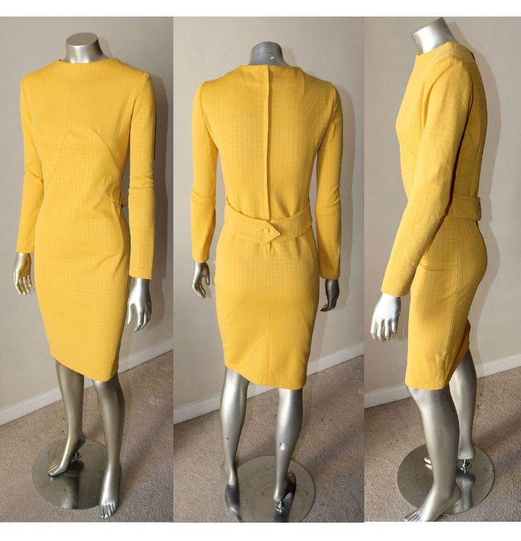 Sheath Belt Houndstooth Mustard Yellow Knee Length VTG 60s Long Sleeve Dress M
