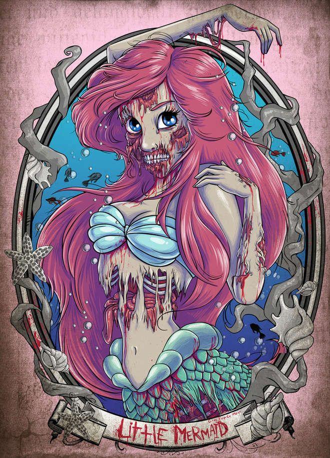 Les Princesses Disney en zombies de The Walking Dead : Ariel