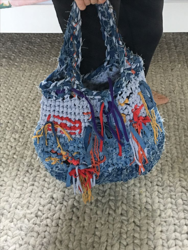 Denim and jersey tote bag. One of a kind. Bespoke.