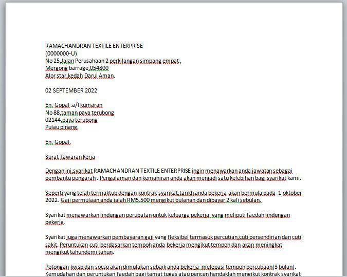 Surat Tawaran Pekerjaan Surat