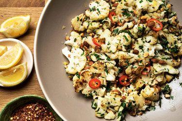 Pan-Roasted Cauliflower with Garlic, Parsley and Rosemary