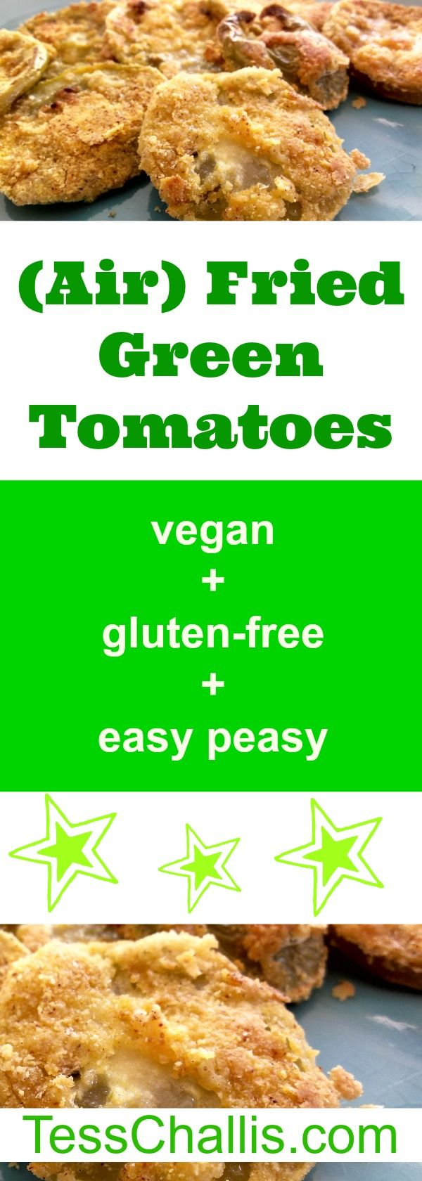 (Air) Fried Green Tomatoes – so tart, crunchy, delicious, and juicy! http://tesschallis.com/recipes/2017/6/17/air-fried-green-tomatoes   #airfryer #vegan #glutenfree #vegrockstar