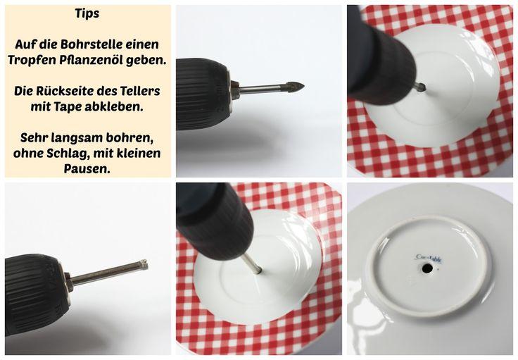 Tutorial Anleitung DIY für eine selbstgemachte Etagere aus Porzellantellern