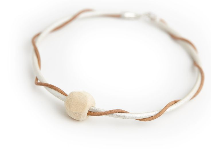 Natural Leather Bracelet, Unique Personalized jewelry, Sterling Silver, Wooden Beads from 1980', 1990' 2000', 2010', Gift Idea for Her, by MsHeartwoodJewellery on Etsy
