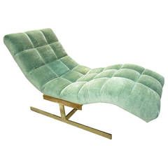 Lovely Brass Milo Baughman Wave Chaise Longue, Mid-Century Modern
