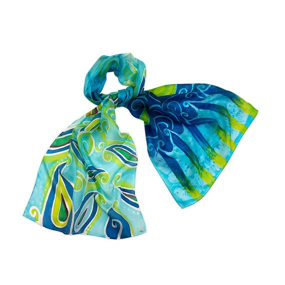 Paisley Lake a hand painted silk scarf with a by AratiDevasher