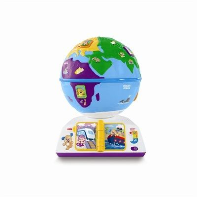 With this interactive globe, little ones can hold the whole world in their hands and take it for a spin. Pressing the 7 animal buttons on the globe introduces budding explorers to the continents, animals, greetings and music they'll find along the way! When they flip the travel book pages, they'll learn how Puppy & Sis travel the globe. And when they spin the globe, they'll hear fun songs & phrases all about exploring new places. There are over 100 sounds, songs, tunes &am...