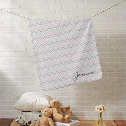 Pink & Gray Chevron Monogram Baby Blanket - chic design idea diy elegant beautiful stylish modern exclusive trendy