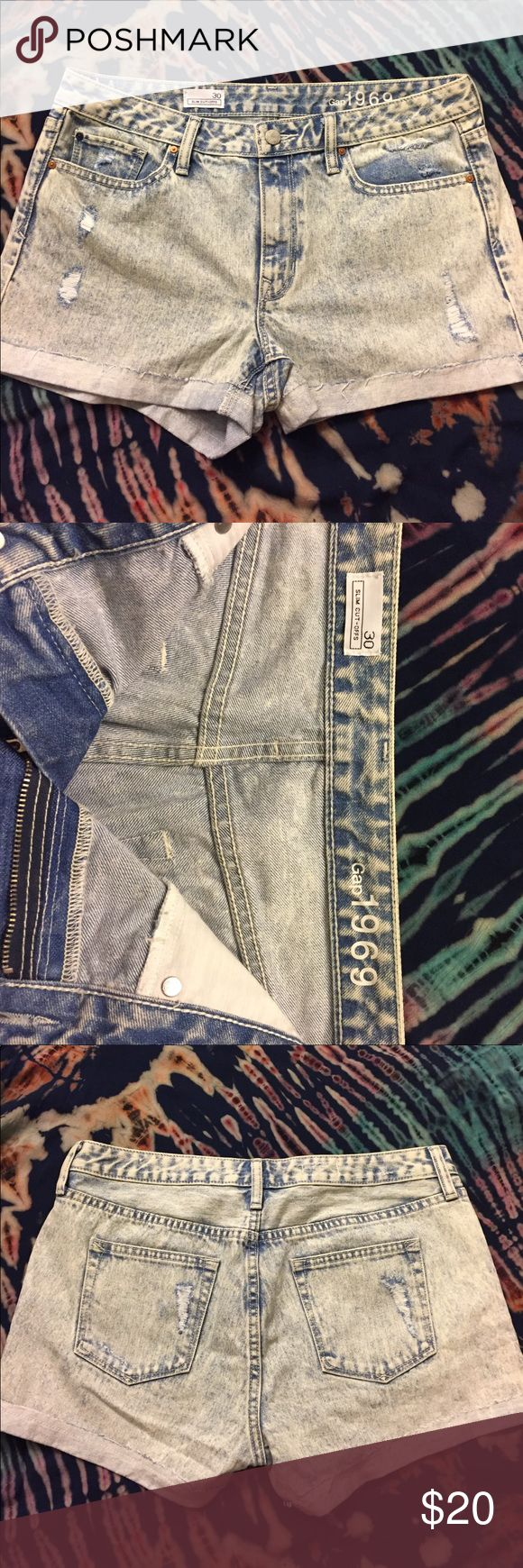 Gap Acid Wash Distressed Jean Shorts NWOT Gap acid washed jean shorts. Light distress on front and back pockets. GAP Shorts Jean Shorts