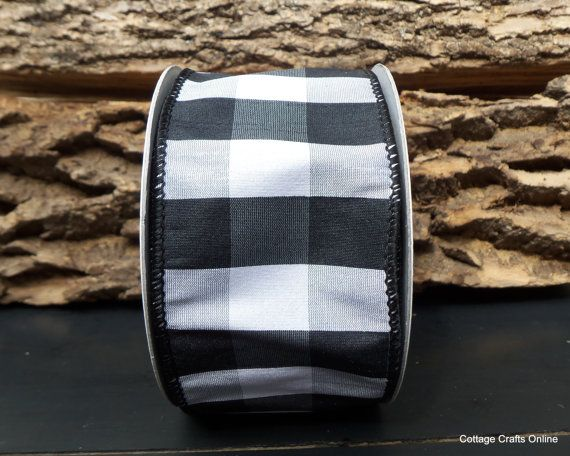 Black And White Plaid Wired Ribbon 2 1 2 Quot Wide Faux Silk Black And White Pinterest