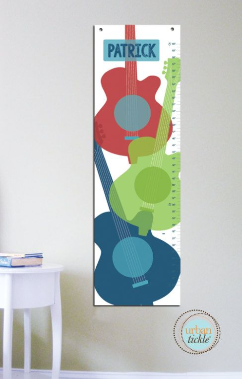 Growth Chart for kids Guitars 13 X42 Inches Gift by UrbanTickle, $58.00