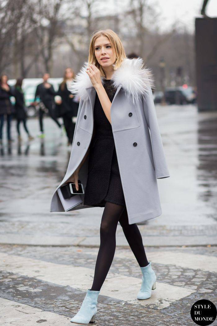 wool coat with black outfit