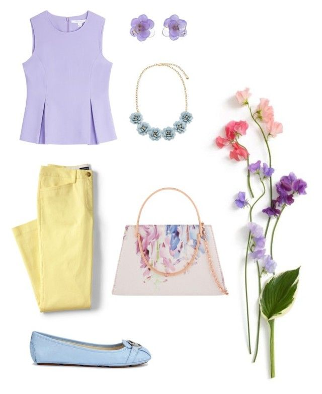 """Spring date"" by rainbowfra on Polyvore featuring Lands' End, Diane Von Furstenberg, Michael Kors, Ted Baker, Chanel and plus size clothing"