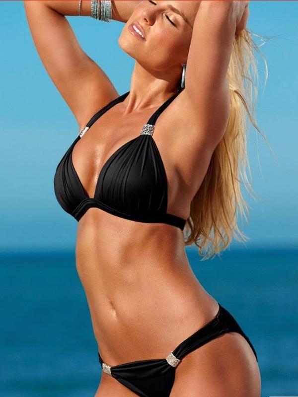 Triangle Top Halter-neck Plain Bikinis Swimwear