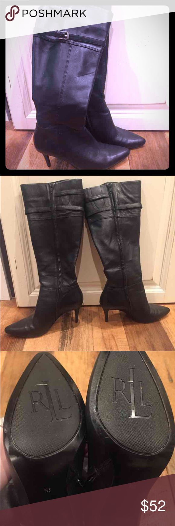 Ralph Lauren black leather knee boots