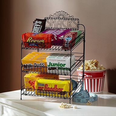 Movie Snack Display - this is no longer available but you could fudge it by using a wire can rotator instead.  This would be great for a movie party