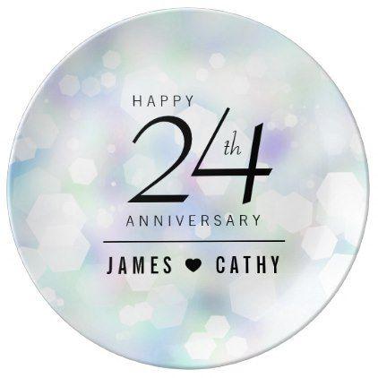 Elegant 24th Opal Wedding Anniversary Celebration Porcelain Plate - elegant wedding gifts diy accessories ideas